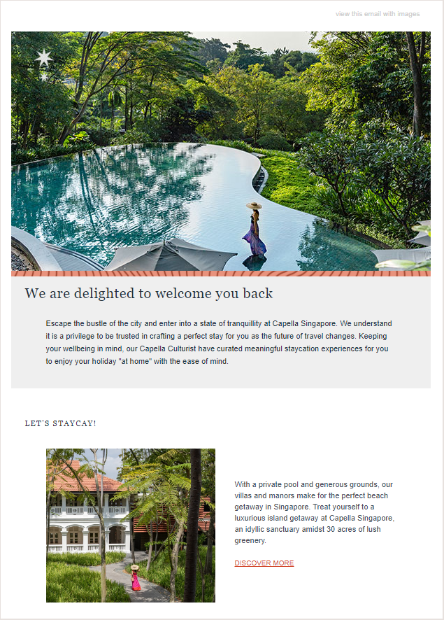 capella singapore staycation email campaign